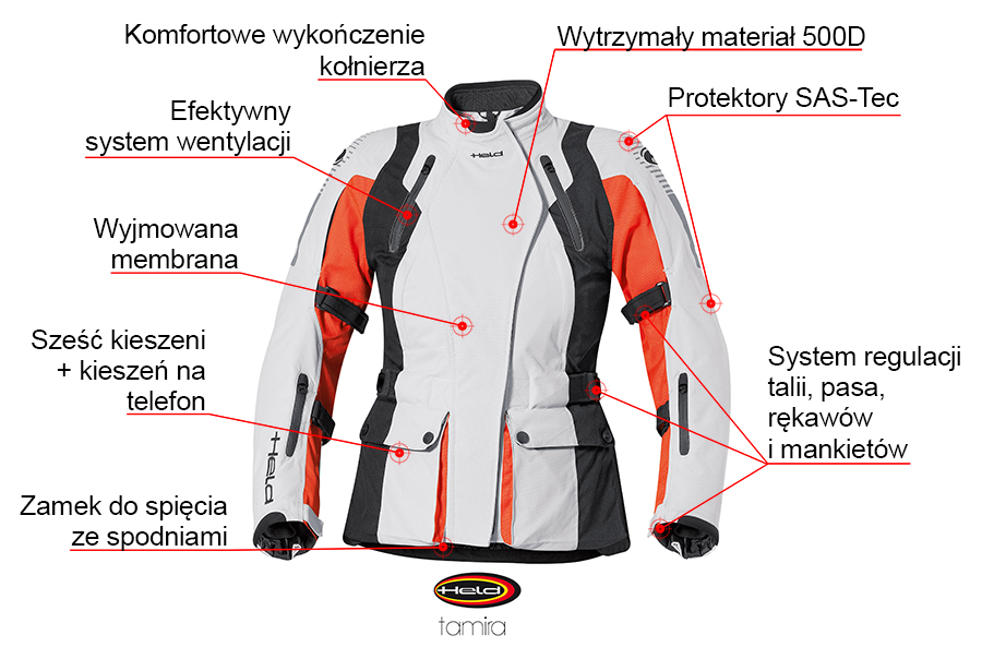 Funkcje kurtki motocyklowej Held Tamira