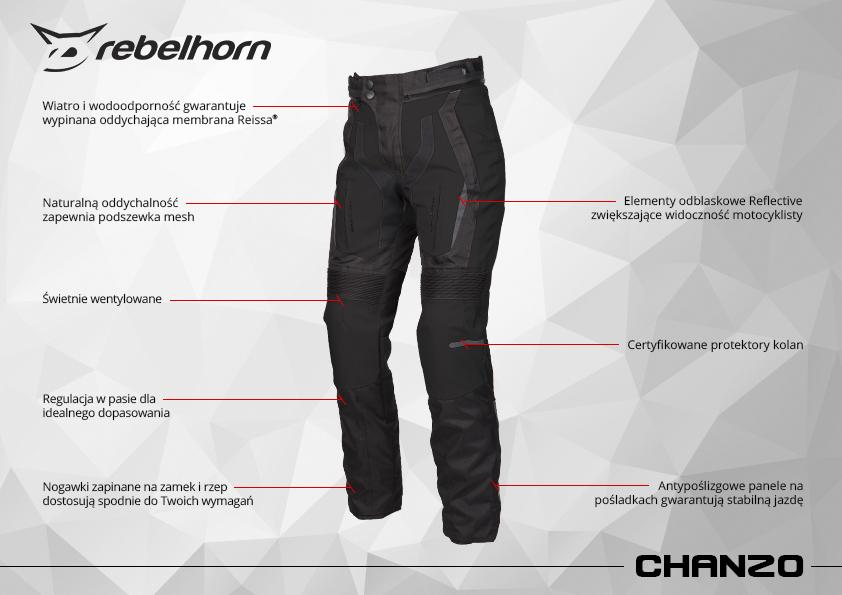 funkcje - spodnie motocyklowe tekstylne rebelhorn chanzo