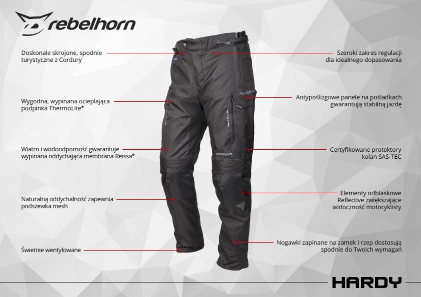 funkcje - spodnie motocyklowe tekstylne rebelhorn hardy
