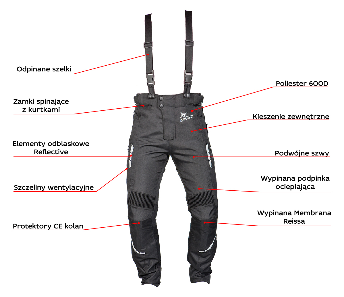 funkcje - spodnie motocyklowe tekstylne rebelhorn thar